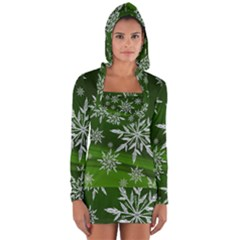 Christmas Star Ice Crystal Green Background Long Sleeve Hooded T Shirt