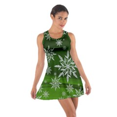 Christmas Star Ice Crystal Green Background Cotton Racerback Dress