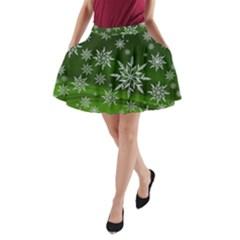 Christmas Star Ice Crystal Green Background A Line Pocket Skirt