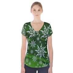 Christmas Star Ice Crystal Green Background Short Sleeve Front Detail Top