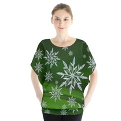 Christmas Star Ice Crystal Green Background Blouse