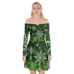 Christmas Star Ice Crystal Green Background Off Shoulder Skater Dress