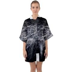 Flash Black Thunderstorm Quarter Sleeve Kimono Robe