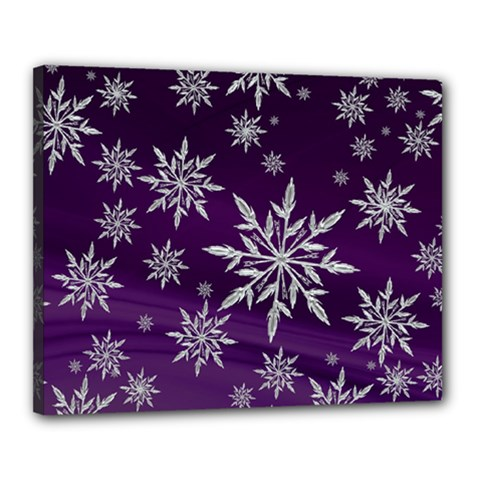 Christmas Star Ice Crystal Purple Background Canvas 20  X 16