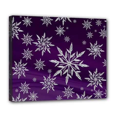 Christmas Star Ice Crystal Purple Background Deluxe Canvas 24  X 20