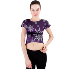 Christmas Star Ice Crystal Purple Background Crew Neck Crop Top