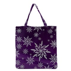 Christmas Star Ice Crystal Purple Background Grocery Tote Bag