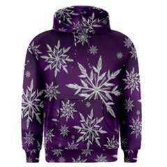 Christmas Star Ice Crystal Purple Background Men s Pullover Hoodie
