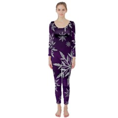 Christmas Star Ice Crystal Purple Background Long Sleeve Catsuit