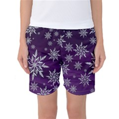 Christmas Star Ice Crystal Purple Background Women s Basketball Shorts