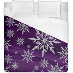 Christmas Star Ice Crystal Purple Background Duvet Cover (king Size)