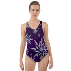 Christmas Star Ice Crystal Purple Background Cut Out Back One Piece Swimsuit