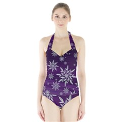 Christmas Star Ice Crystal Purple Background Halter Swimsuit