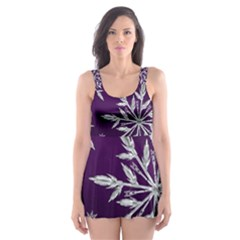Christmas Star Ice Crystal Purple Background Skater Dress Swimsuit