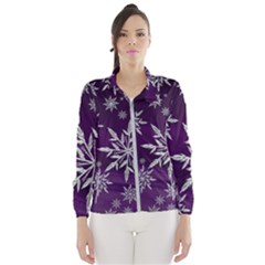 Christmas Star Ice Crystal Purple Background Wind Breaker (women)