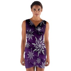 Christmas Star Ice Crystal Purple Background Wrap Front Bodycon Dress