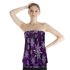 Christmas Star Ice Crystal Purple Background Strapless Top