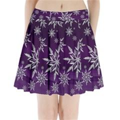 Christmas Star Ice Crystal Purple Background Pleated Mini Skirt