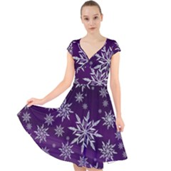 Christmas Star Ice Crystal Purple Background Cap Sleeve Front Wrap Midi Dress