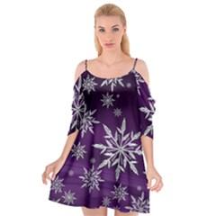 Christmas Star Ice Crystal Purple Background Cutout Spaghetti Strap Chiffon Dress