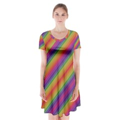 Spectrum Psychedelic Short Sleeve V Neck Flare Dress