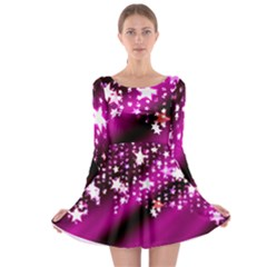 Background Christmas Star Advent Long Sleeve Skater Dress