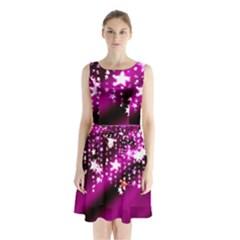 Background Christmas Star Advent Sleeveless Waist Tie Chiffon Dress