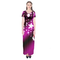Background Christmas Star Advent Short Sleeve Maxi Dress