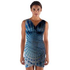Data Computer Internet Online Wrap Front Bodycon Dress