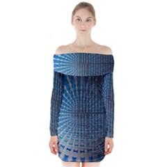 Data Computer Internet Online Long Sleeve Off Shoulder Dress