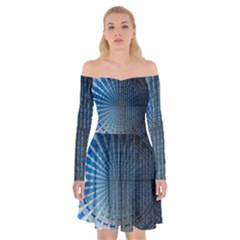 Data Computer Internet Online Off Shoulder Skater Dress