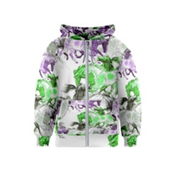 Horse Horses Animal World Green Kids  Zipper Hoodie