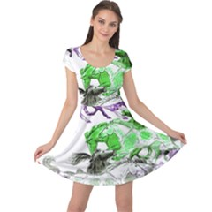 Horse Horses Animal World Green Cap Sleeve Dress