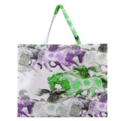 Horse Horses Animal World Green Zipper Large Tote Bag