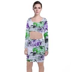 Horse Horses Animal World Green Long Sleeve Crop Top & Bodycon Skirt Set