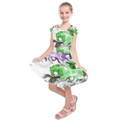 Horse Horses Animal World Green Kids  Short Sleeve Dress