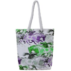 Horse Horses Animal World Green Full Print Rope Handle Tote (small)