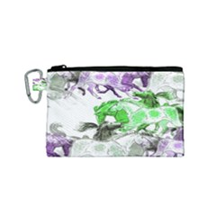 Horse Horses Animal World Green Canvas Cosmetic Bag (small)