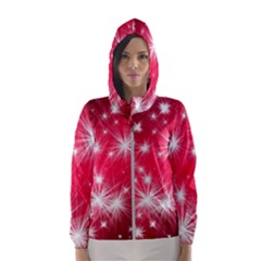 Christmas Star Advent Background Hooded Wind Breaker (women)
