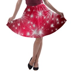Christmas Star Advent Background A Line Skater Skirt