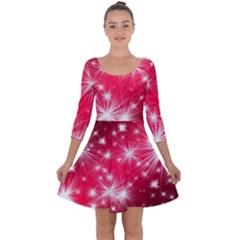 Christmas Star Advent Background Quarter Sleeve Skater Dress