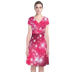 Christmas Star Advent Background Short Sleeve Front Wrap Dress