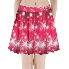 Christmas Star Advent Background Pleated Mini Skirt