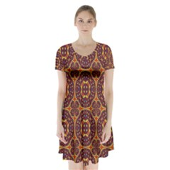 Geometric Pattern Short Sleeve V Neck Flare Dress