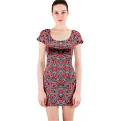Exotic Intricate Modern Pattern Short Sleeve Bodycon Dress