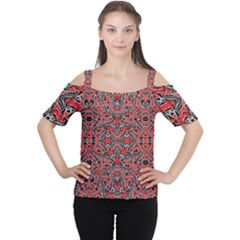 Exotic Intricate Modern Pattern Cutout Shoulder Tee