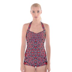 Exotic Intricate Modern Pattern Boyleg Halter Swimsuit