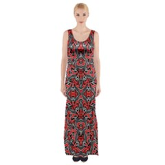 Exotic Intricate Modern Pattern Maxi Thigh Split Dress