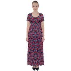Exotic Intricate Modern Pattern High Waist Short Sleeve Maxi Dress