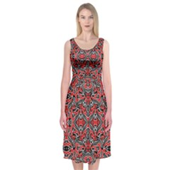 Exotic Intricate Modern Pattern Midi Sleeveless Dress